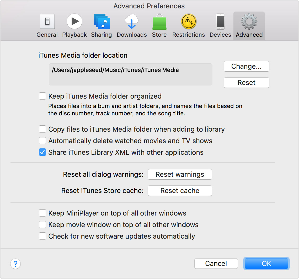 macos-sierra-itunes12-5-2-preferences-advanced-share-itunes-library-selected.jpg